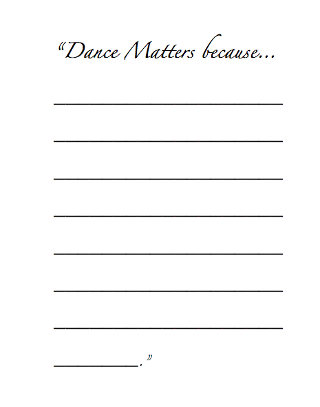 Download the Dance Matters Because worksheet